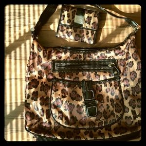 Leopard Print Satchel bag & Wallet Set